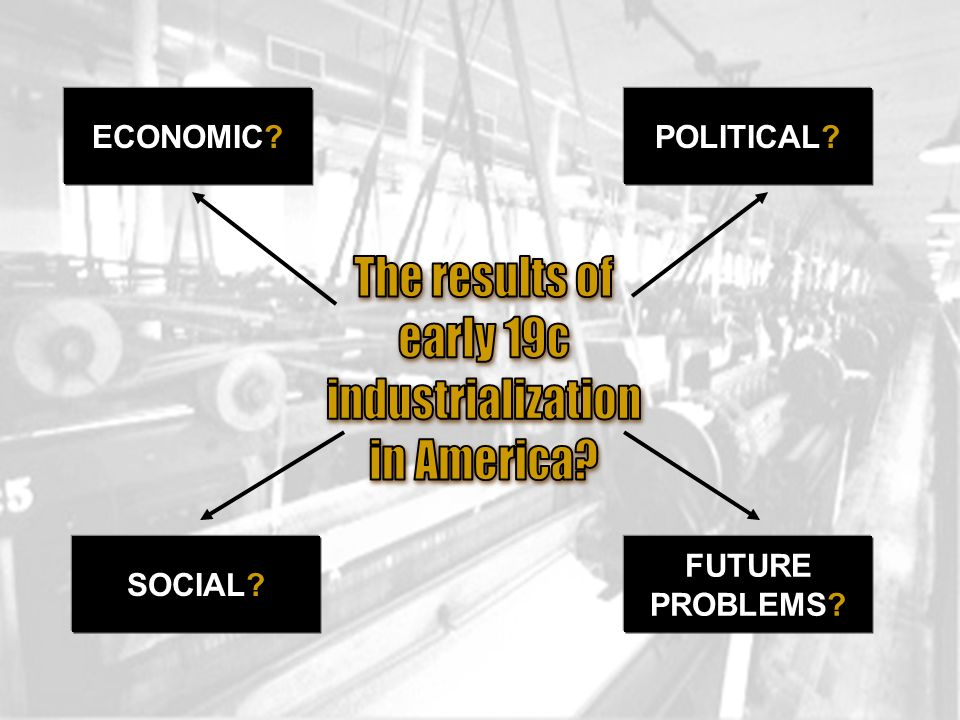 The results of early 19c industrialization in America ECONOMIC