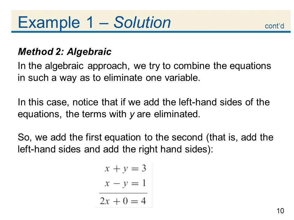 Example 1 – Solution Method 2: Algebraic