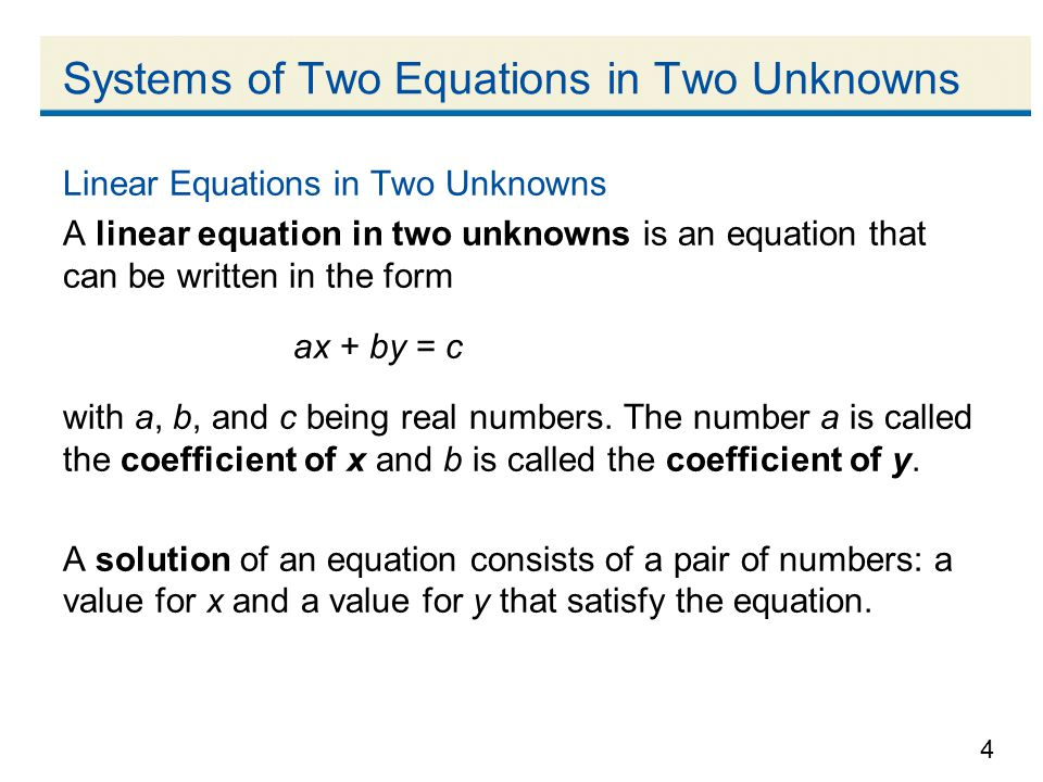 Systems of Two Equations in Two Unknowns