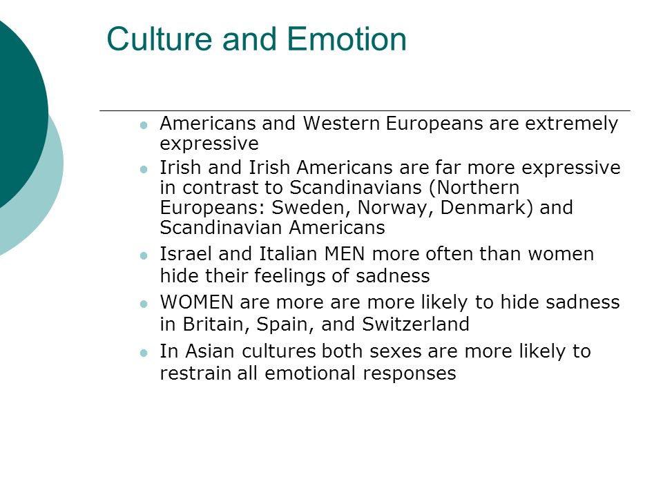 Culture and Emotion Americans and Western Europeans are extremely expressive.