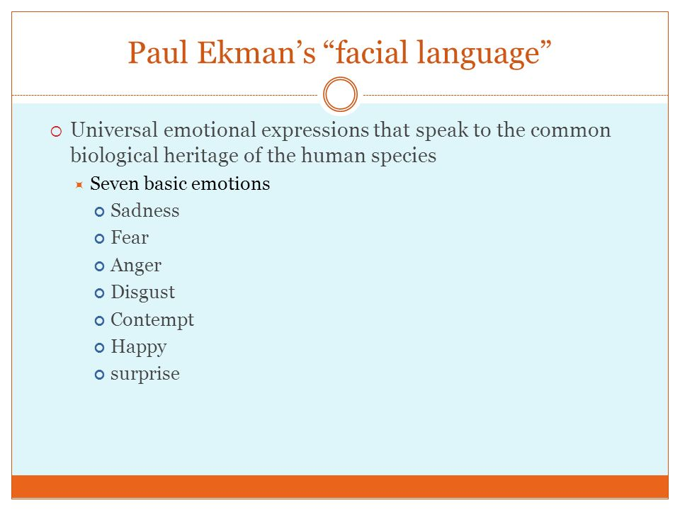 Paul Ekman's facial language
