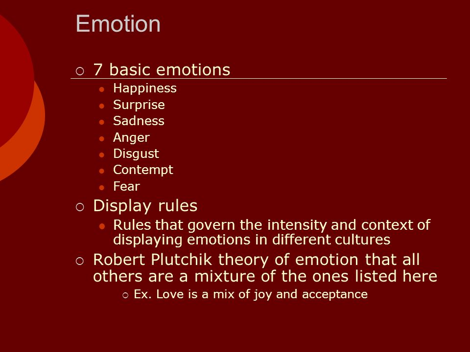 Emotion 7 basic emotions Display rules
