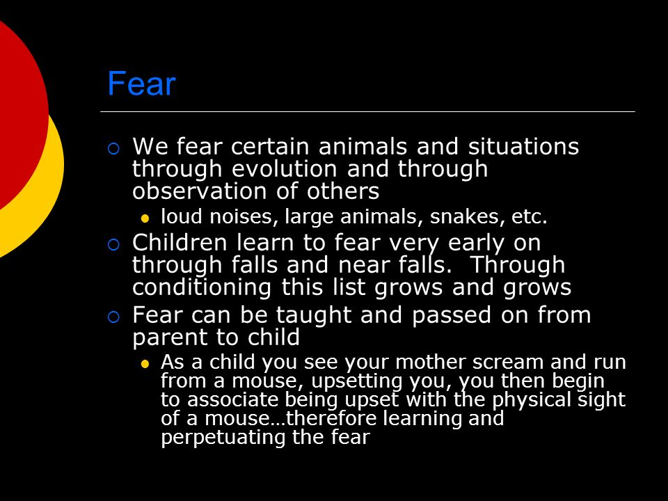 Fear We fear certain animals and situations through evolution and through observation of others. loud noises, large animals, snakes, etc.