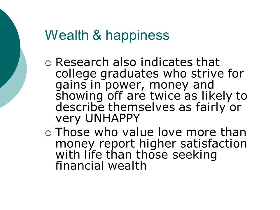 Wealth & happiness
