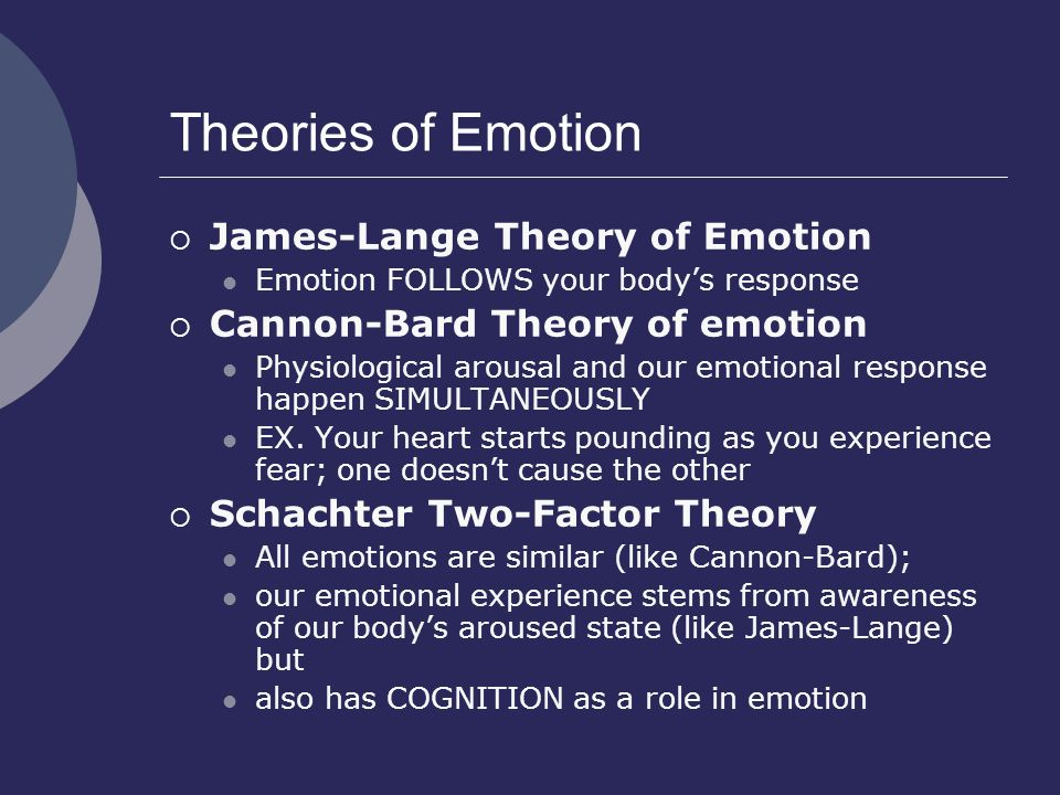 Theories of Emotion James-Lange Theory of Emotion