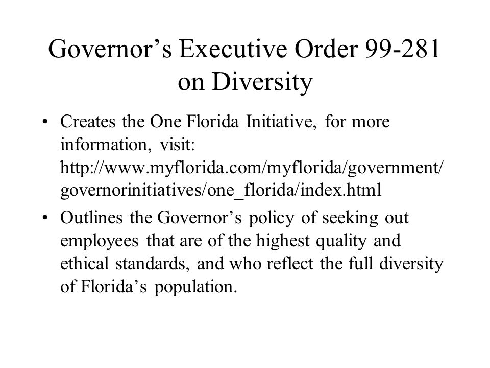 Governor's Executive Order 99-281 on Diversity