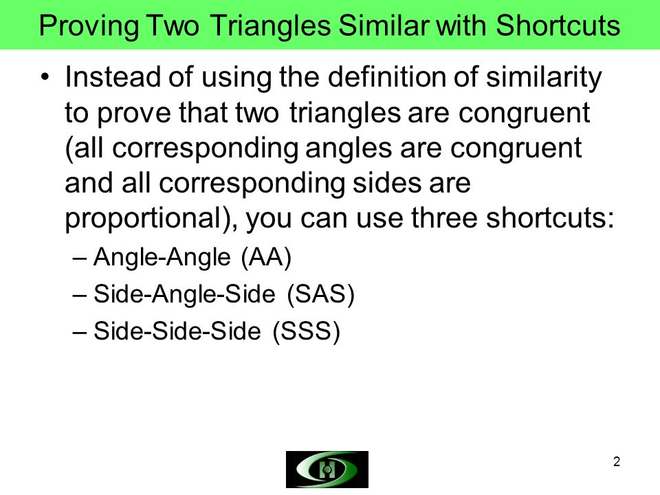 Proving Two Triangles Similar with Shortcuts