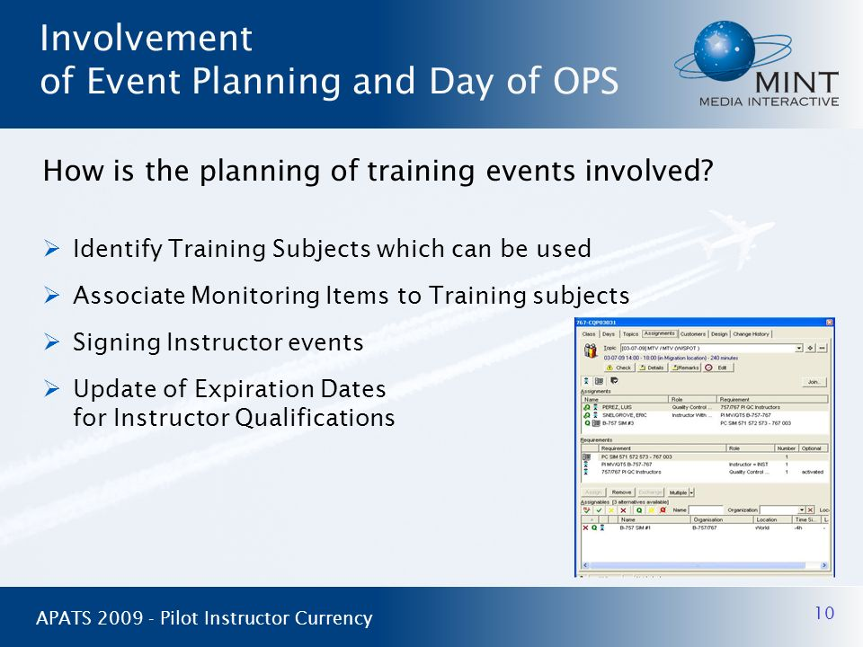 Involvement of Event Planning and Day of OPS