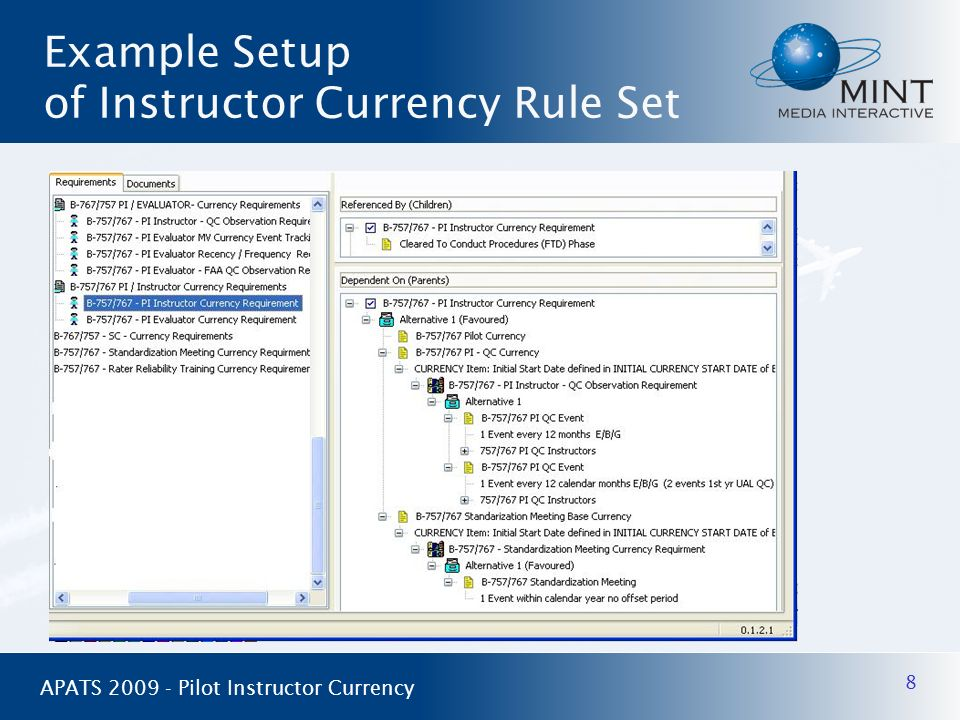 Example Setup of Instructor Currency Rule Set