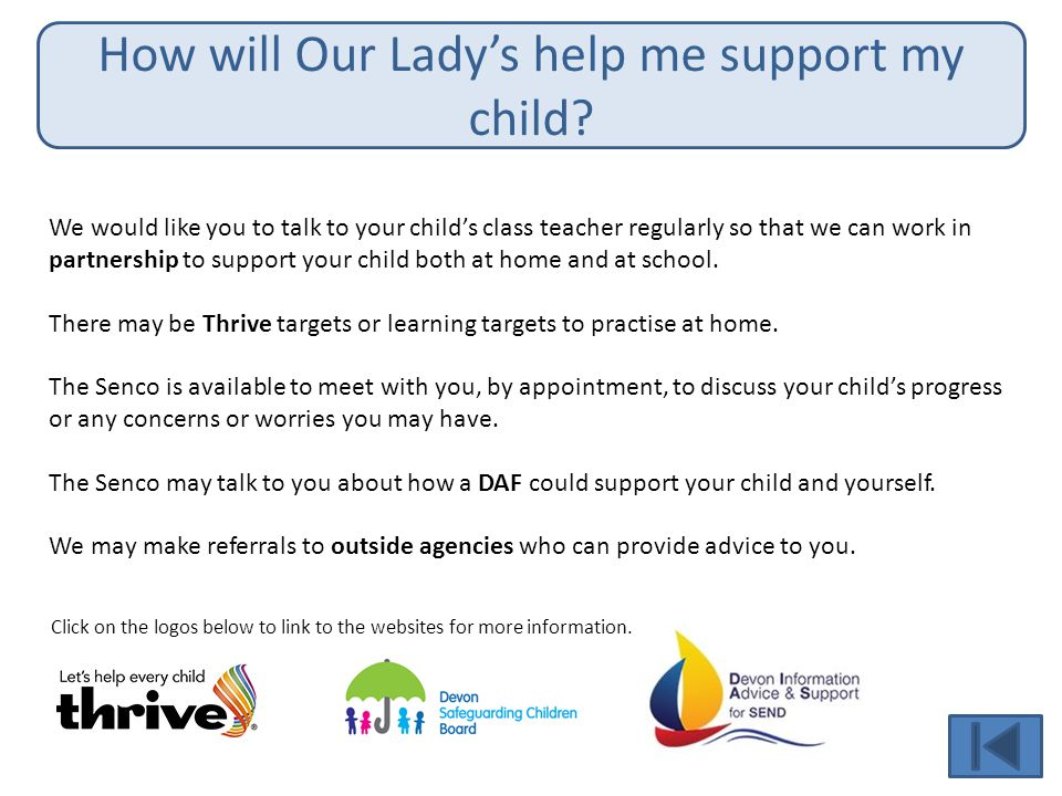 How will Our Lady's help me support my child