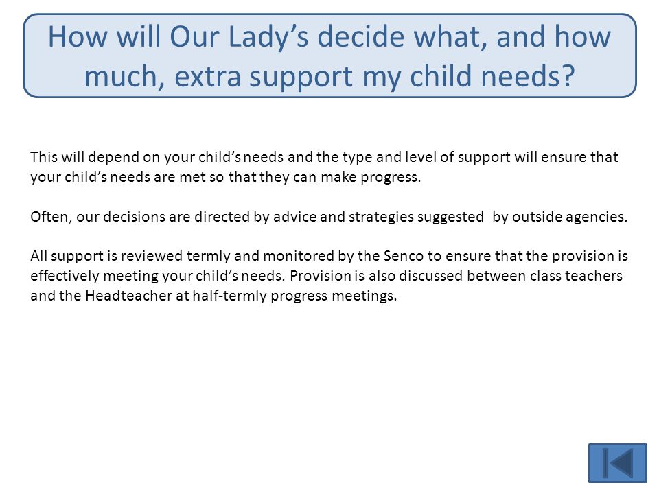 How will Our Lady's decide what, and how much, extra support my child needs