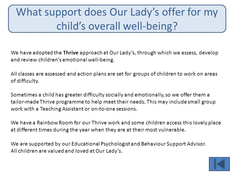 What support does Our Lady's offer for my child's overall well-being