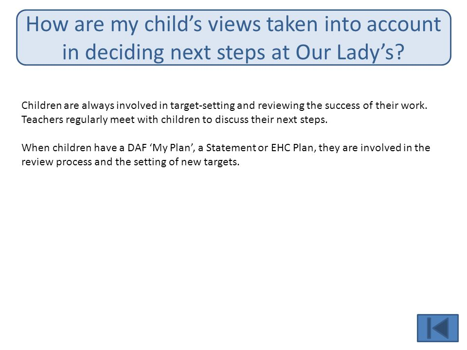 How are my child's views taken into account in deciding next steps at Our Lady's