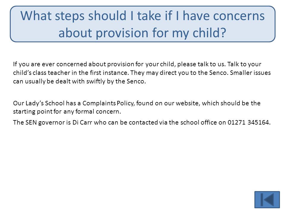 What steps should I take if I have concerns about provision for my child
