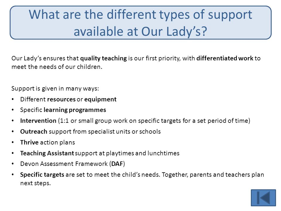 What are the different types of support available at Our Lady's