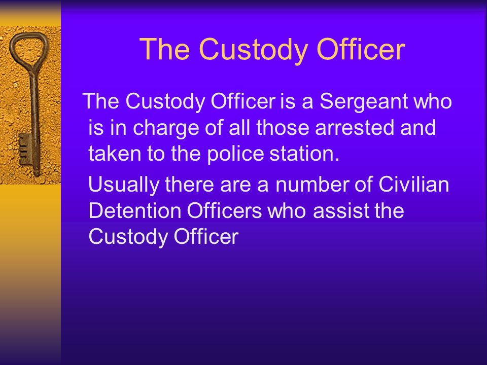 The Custody Officer The Custody Officer is a Sergeant who is in charge of all those arrested and taken to the police station.