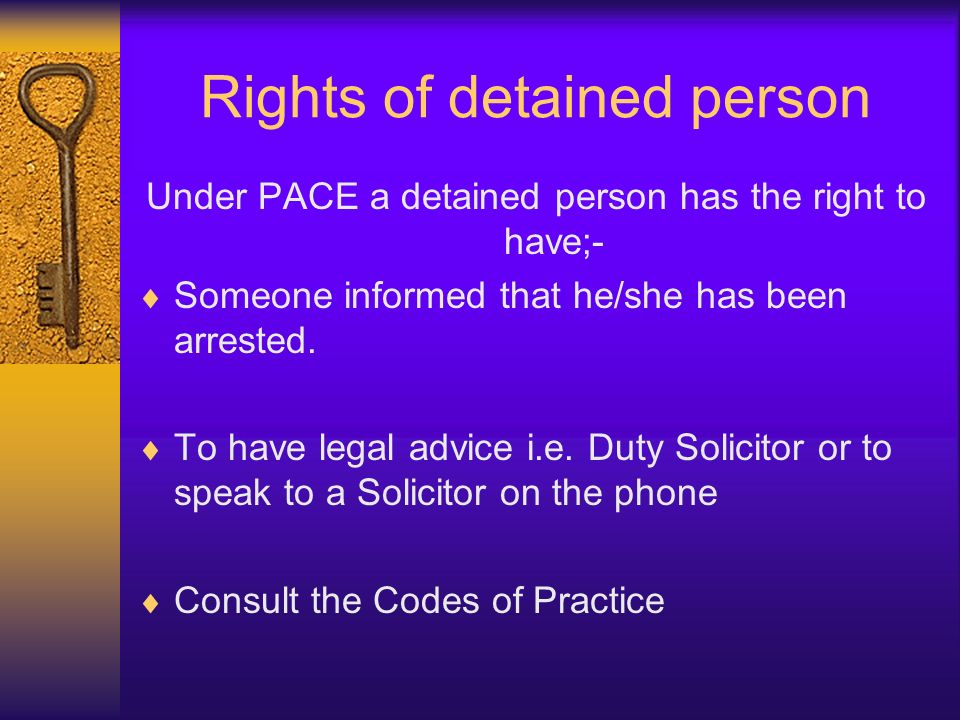 Rights of detained person