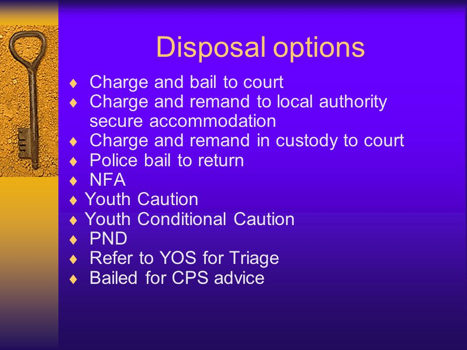 Disposal options Charge and bail to court