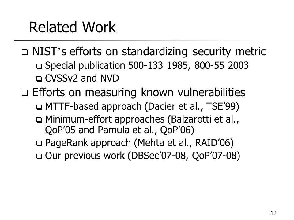 Related Work NIST's efforts on standardizing security metric