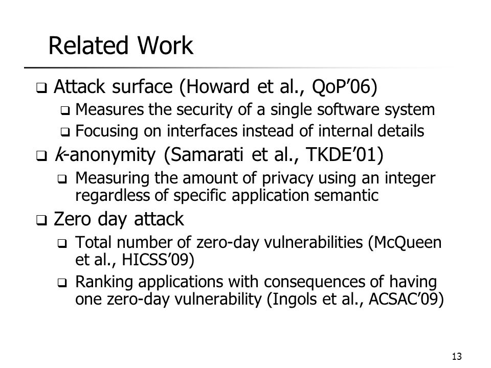 Related Work Attack surface (Howard et al., QoP'06)
