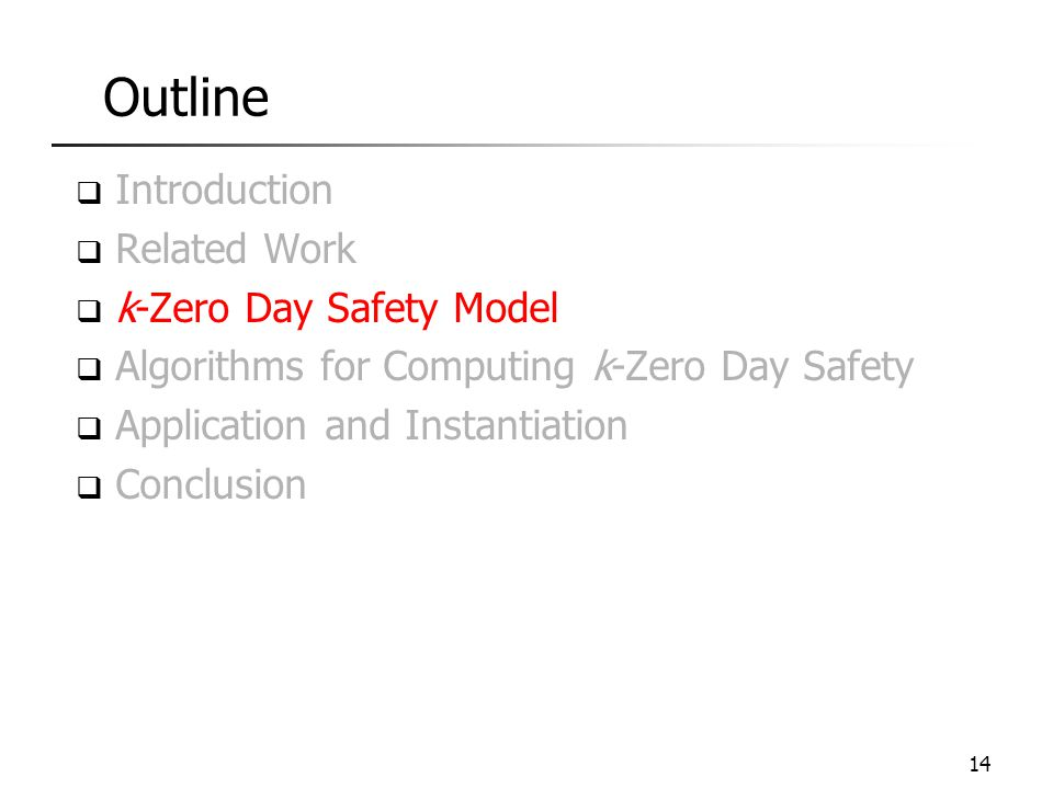 Outline Introduction Related Work k-Zero Day Safety Model