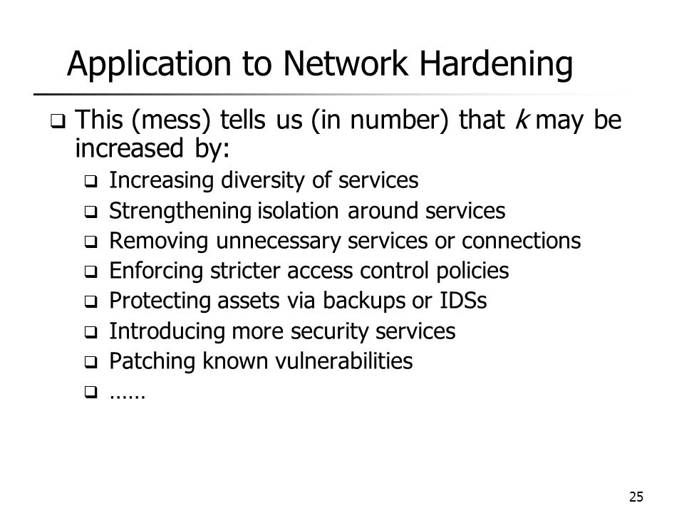 Application to Network Hardening