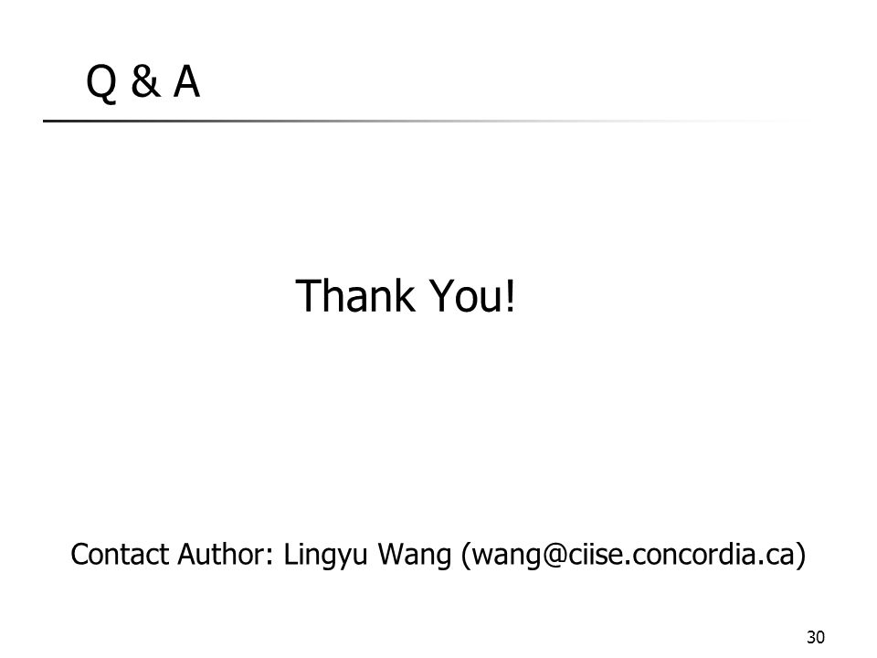 Q & A Thank You! Contact Author: Lingyu Wang (wang@ciise.concordia.ca)