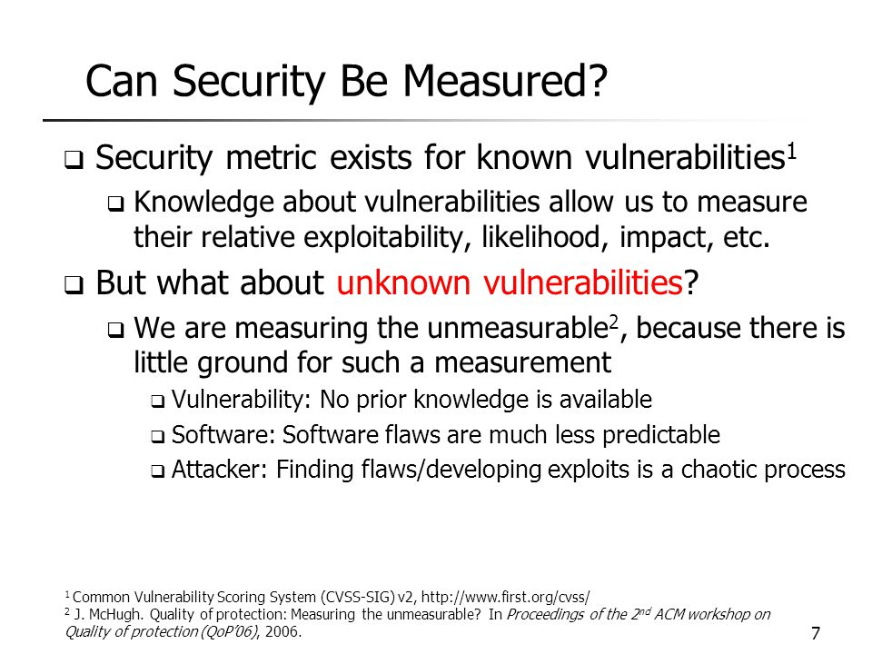 Can Security Be Measured