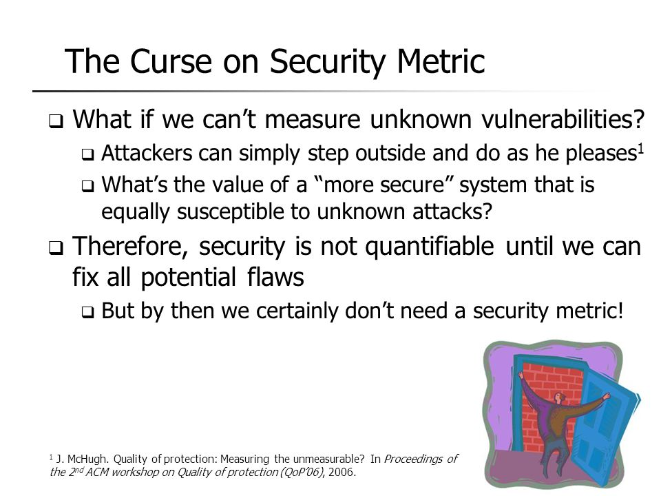 The Curse on Security Metric