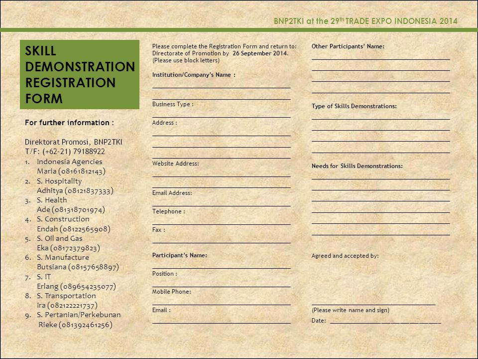 SKILL DEMONSTRATION REGISTRATION FORM