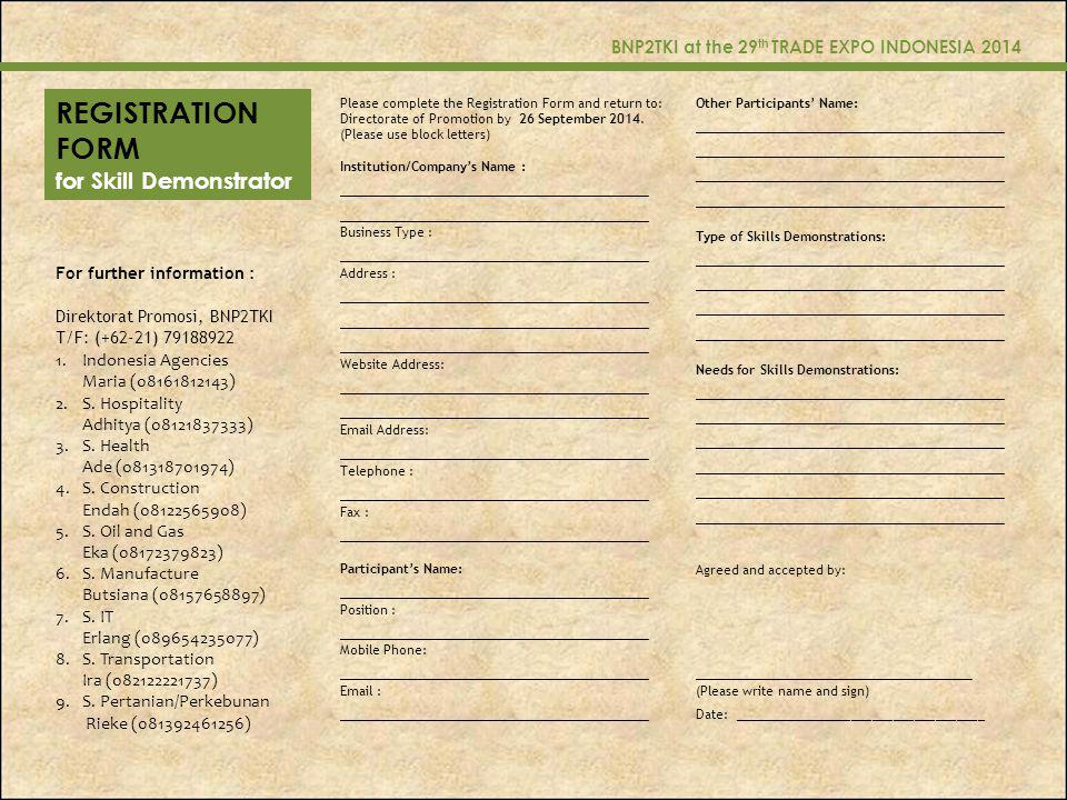 REGISTRATION FORM for Skill Demonstrator ____________________________
