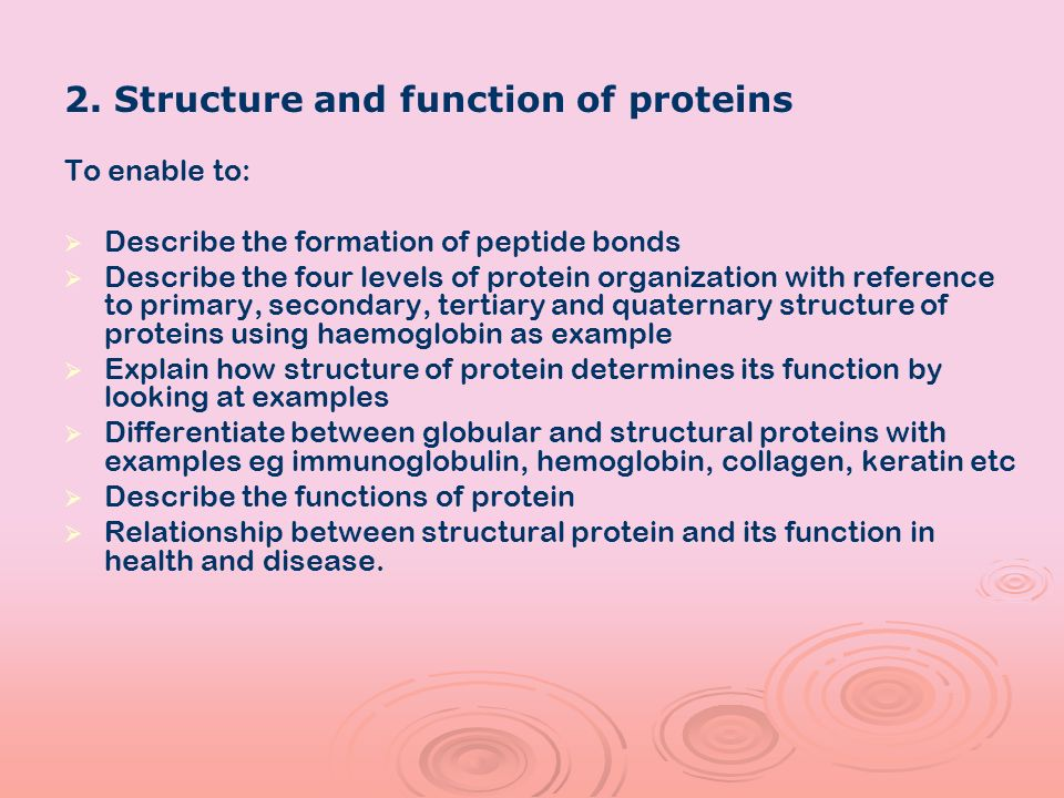 2. Structure and function of proteins