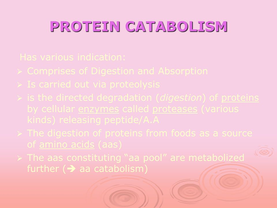 PROTEIN CATABOLISM Has various indication: