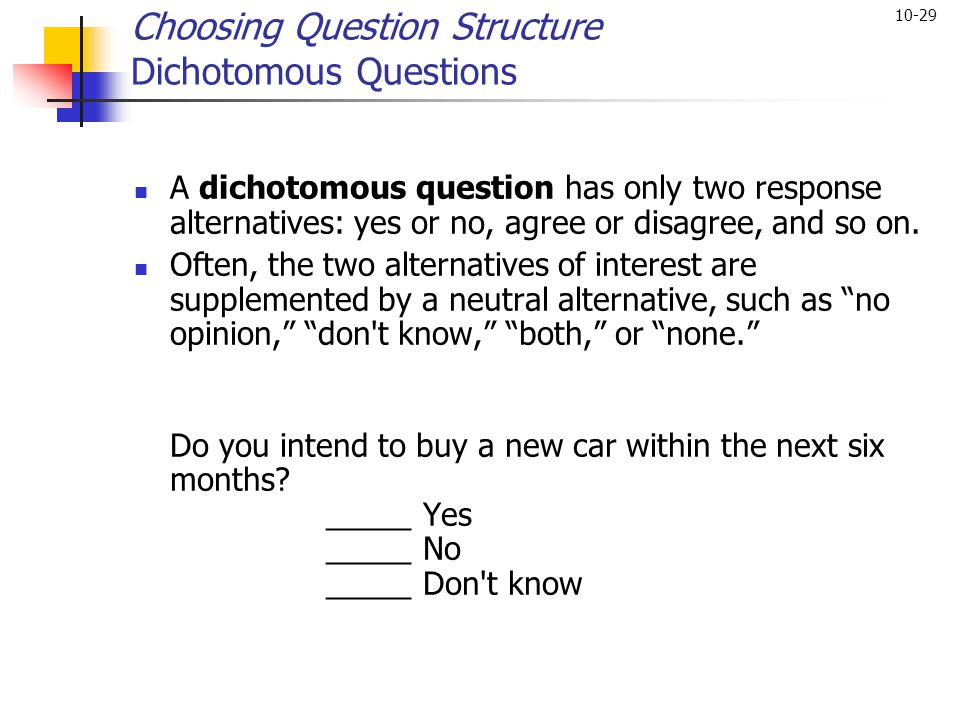 Choosing Question Structure Dichotomous Questions