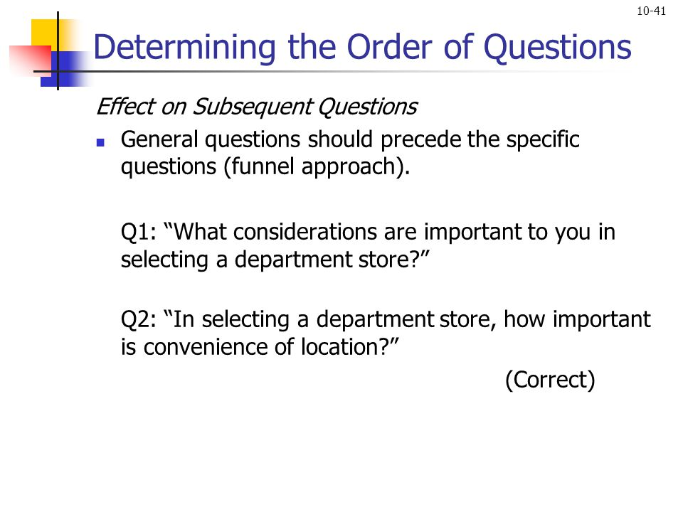Determining the Order of Questions