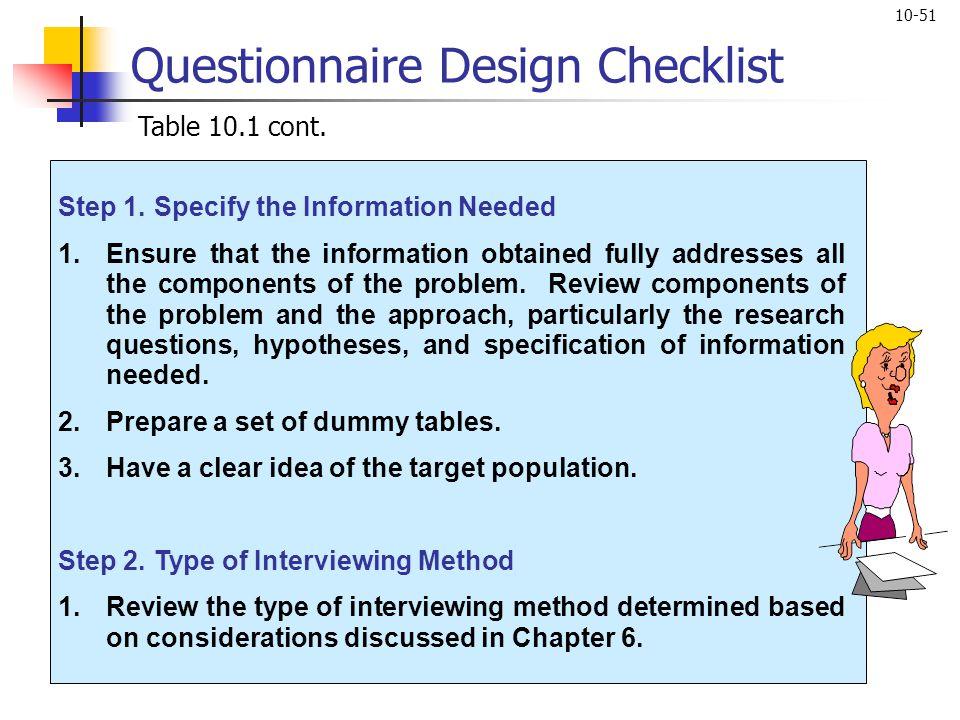 Questionnaire Design Checklist