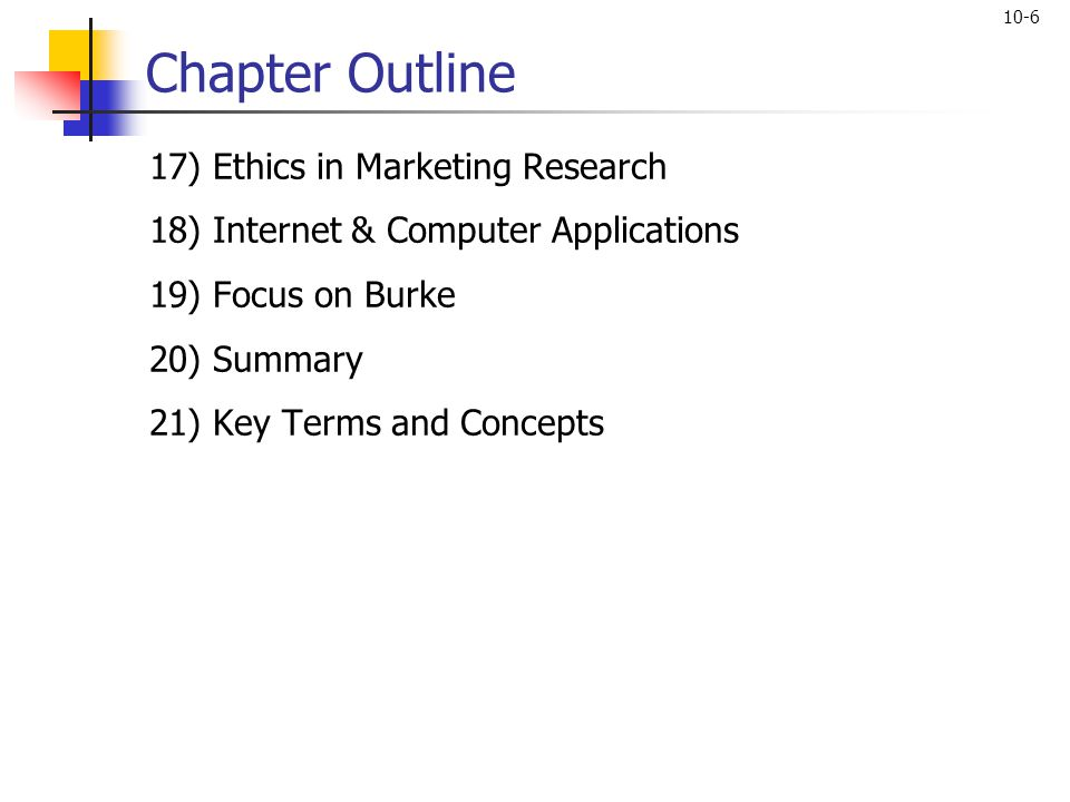 Chapter Outline 17) Ethics in Marketing Research
