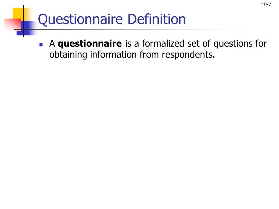 Questionnaire Definition