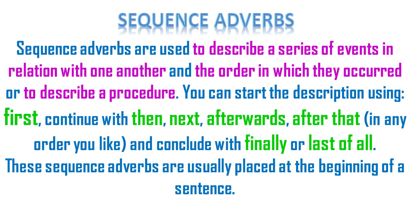 Sequence Adverbs