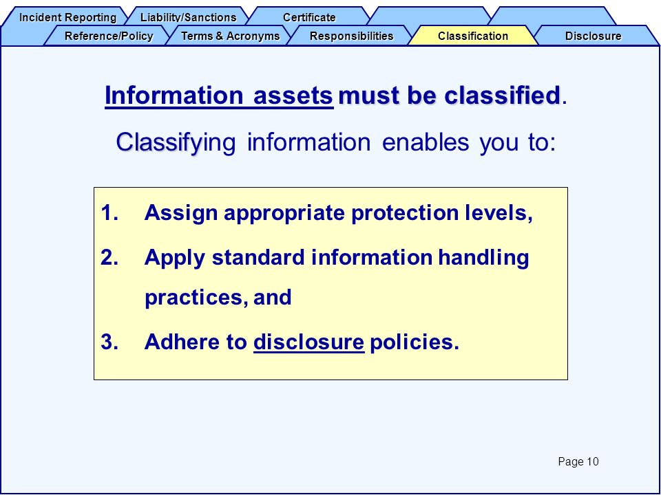 Information assets must be classified