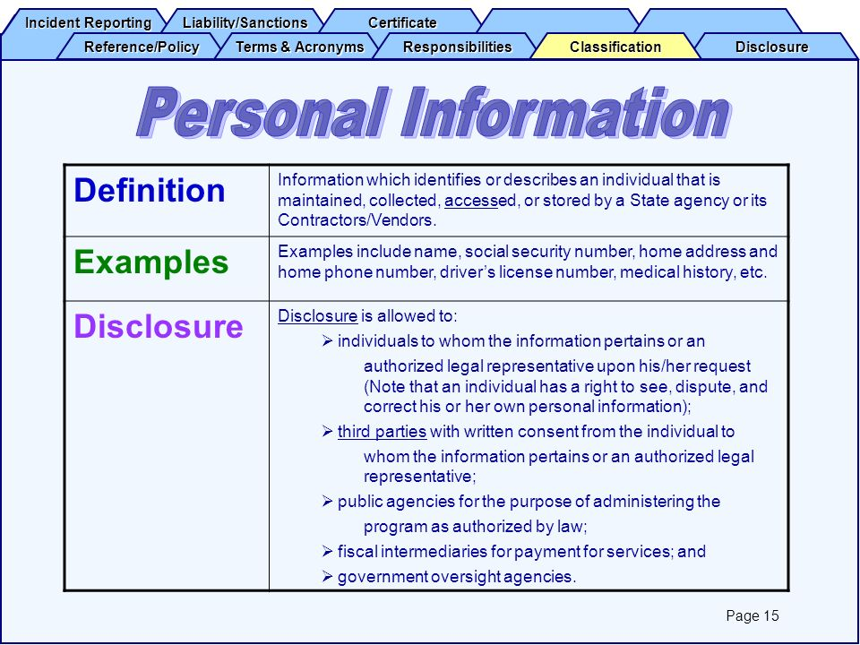 Personal Information Definition Examples Disclosure
