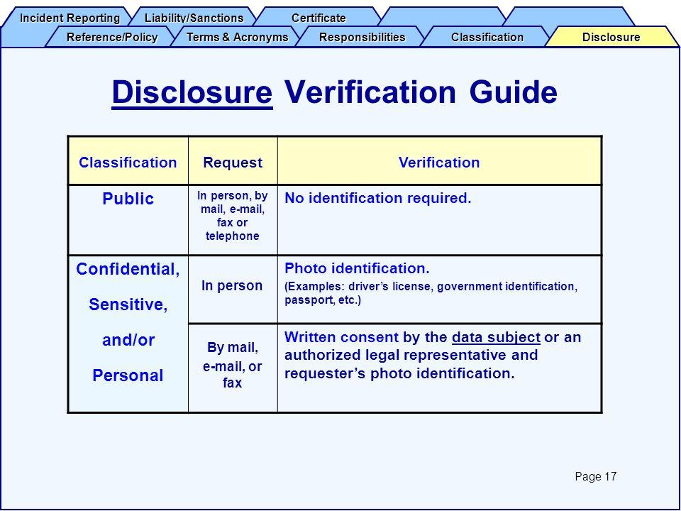 Disclosure Verification Guide