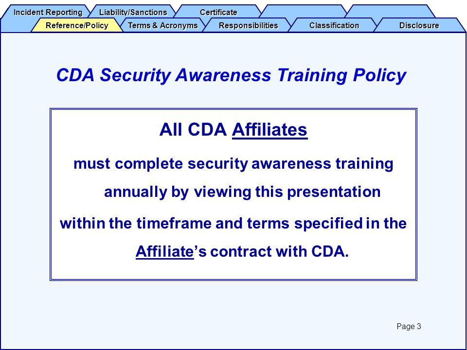 CDA Security Awareness Training Policy