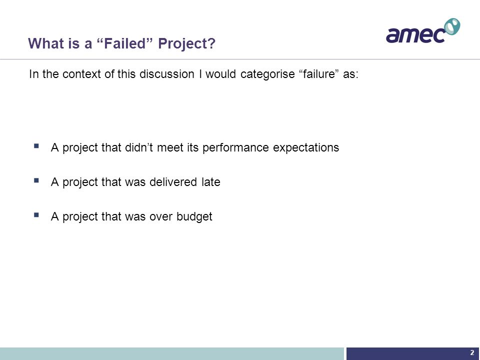 What is a Failed Project