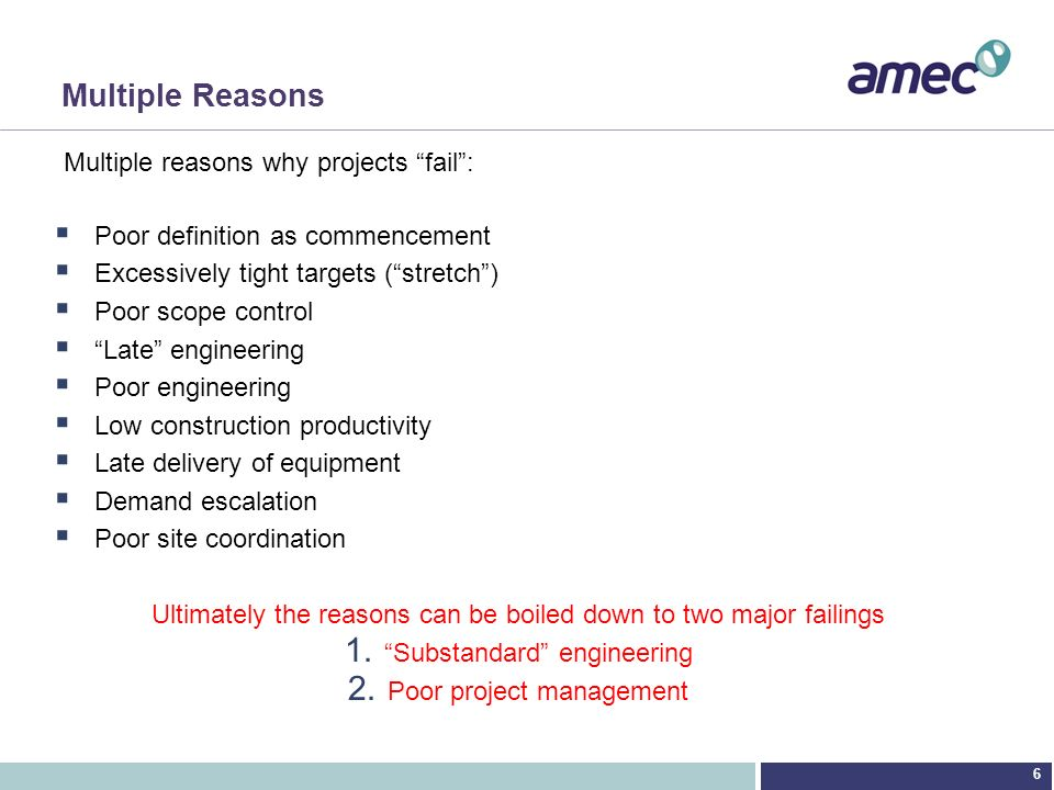 Multiple Reasons Multiple reasons why projects fail :