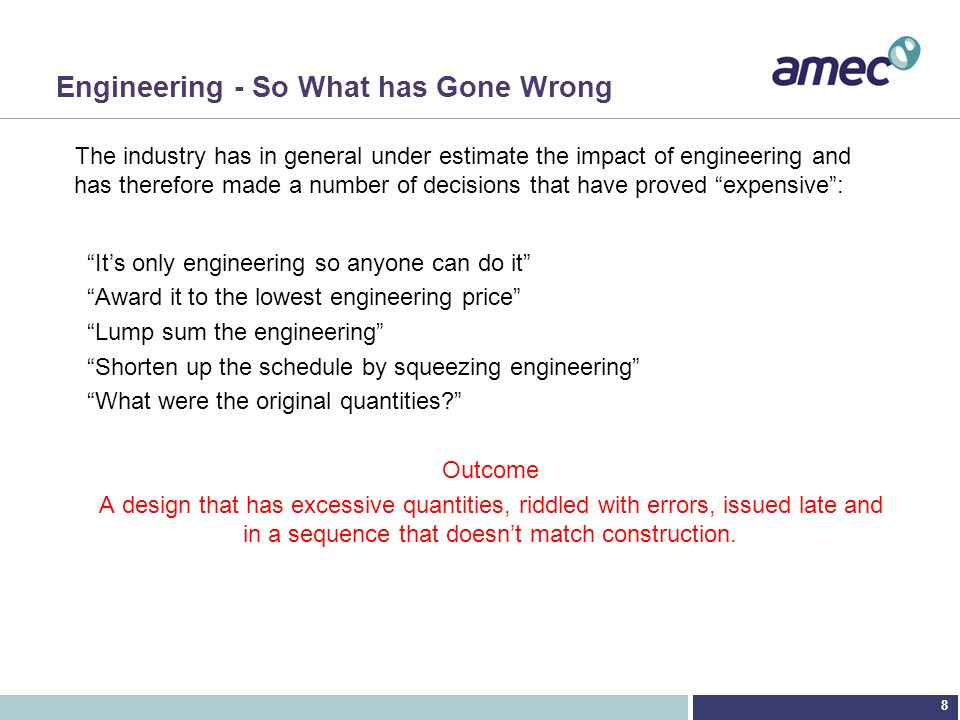 Engineering - So What has Gone Wrong