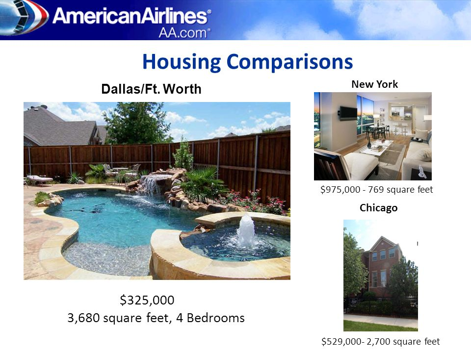 Housing Comparisons $325,000 3,680 square feet, 4 Bedrooms