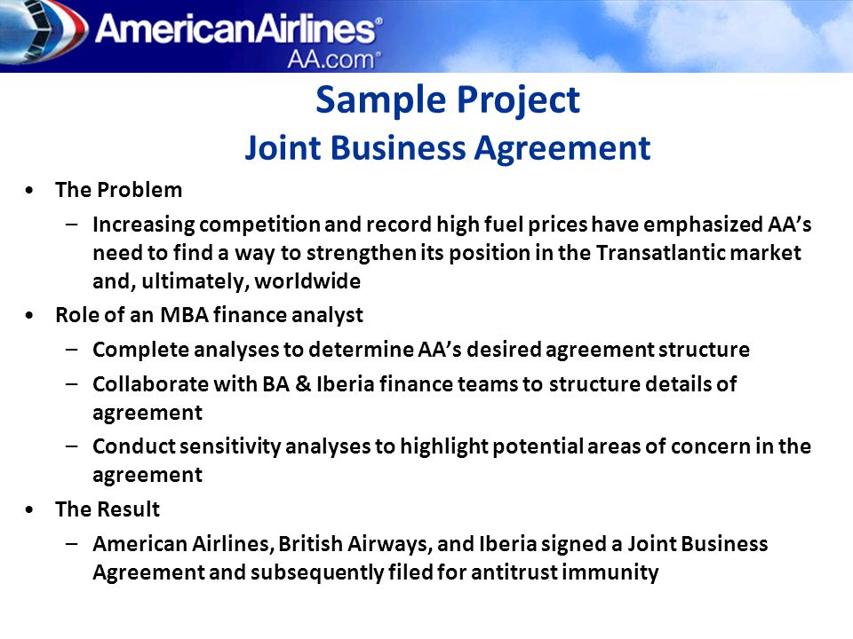 Sample Project Joint Business Agreement