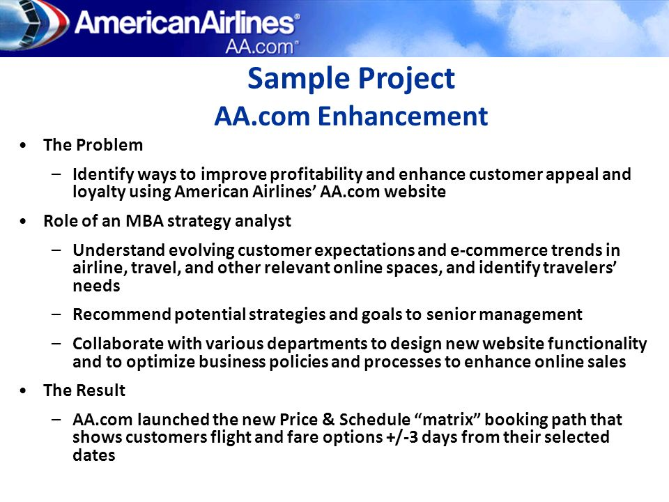 Sample Project AA.com Enhancement