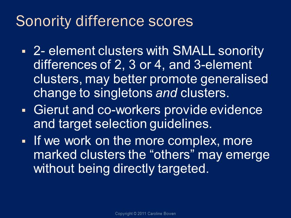 Sonority difference scores